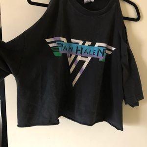 Vintage Van Halen Black band t shirt cut out